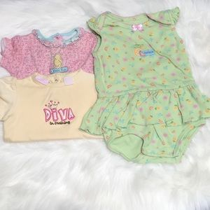 Set of 3 baby's bodysuits various colors & brands